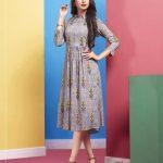 Lilac Designer Party Wear cream Color Kurti
