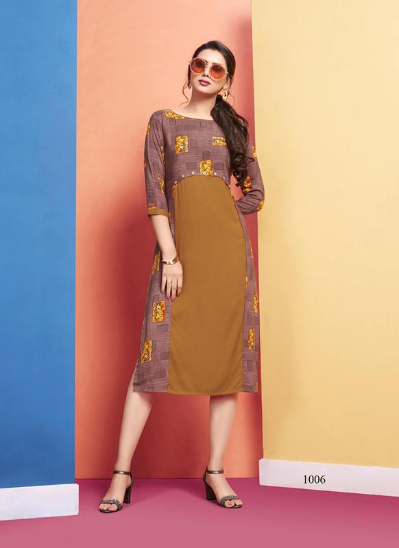 Lilac Designer Party Wear Brown Color Kurti