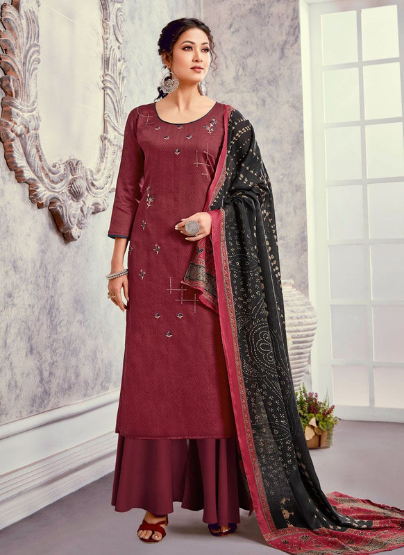 Bluebell Designer Maroon Color Trendy Palazzo Suit
