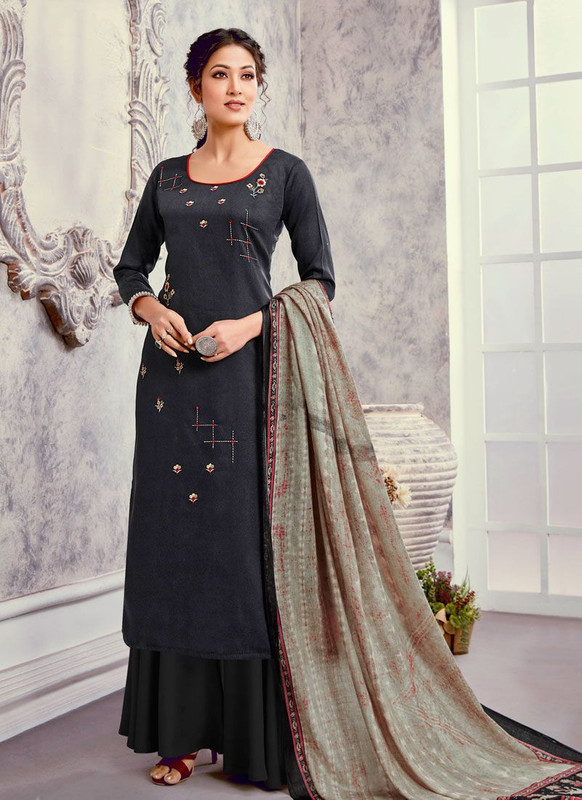 Bluebell Designer Navy Blue Color Trendy Palazzo Suit