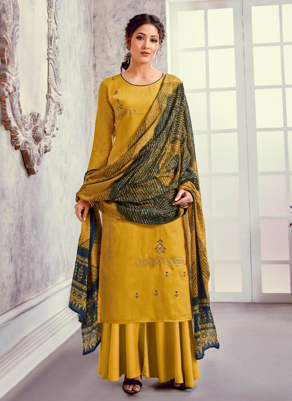 Bluebell Designer Mustard Color Trendy Palazzo Suit