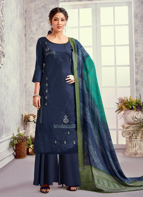 Bluebell Designer Blue Color Trendy Palazzo Suit