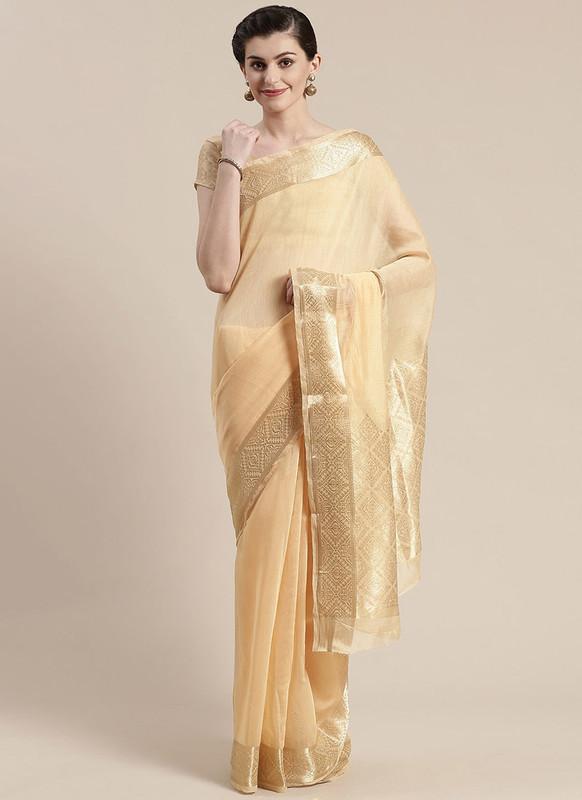 Sareetag Cream Printed Casual Wear Linen Blend Saree