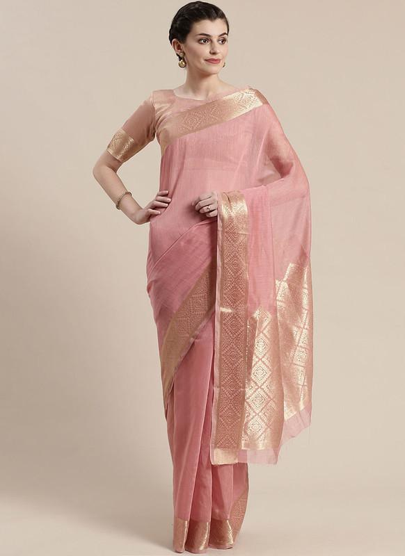 Sareetag Light Pink Printed Casual Wear Linen Blend Saree