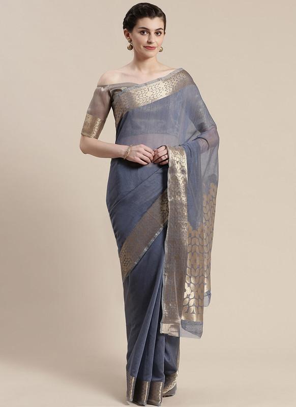 Sareetag Navy Blue Printed Casual Wear Linen Blend Saree