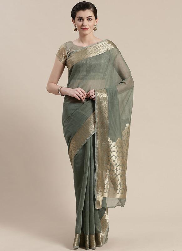 Sareetag Khakhi Green Printed Casual Wear Linen Blend Saree