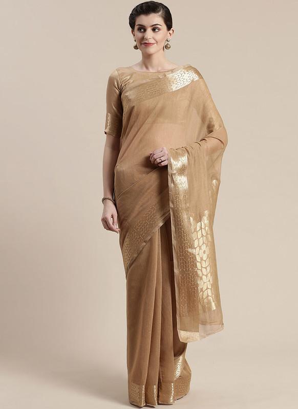 Sareetag Copper Printed Casual Wear Linen Blend Saree