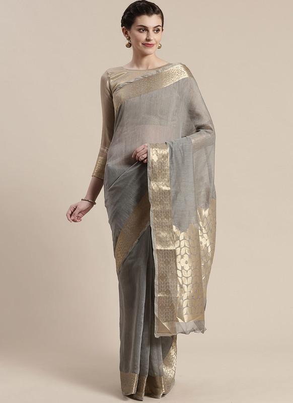 Sareetag Grey Printed Casual Wear Linen Blend Saree