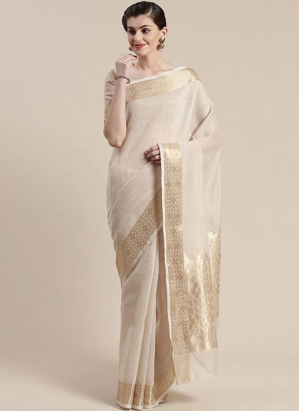Sareetag Off White Printed Casual Wear Linen Blend Saree