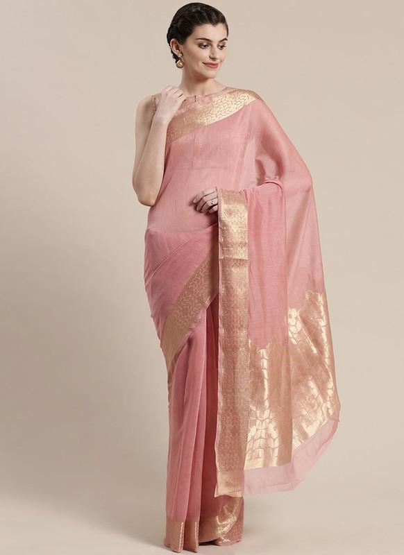 Sareetag Peach Printed Casual Wear Linen Blend Saree
