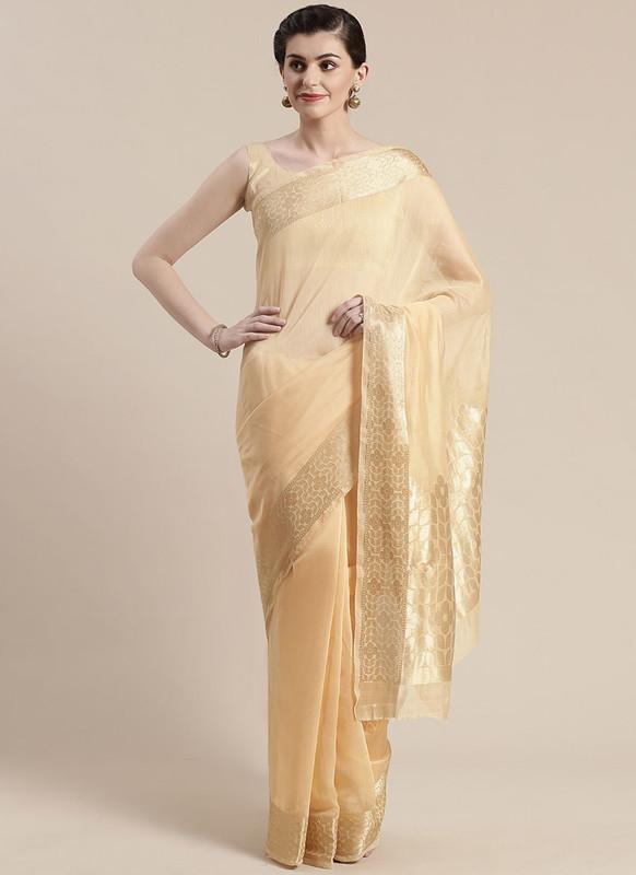Sareetag Light Yellow Printed Casual Wear Linen Blend Saree