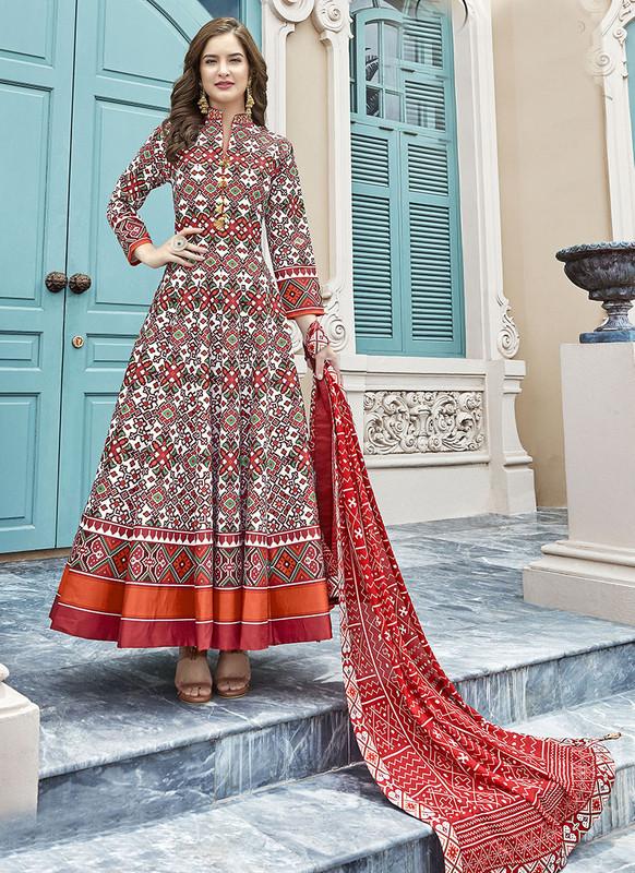Sareetag Multi  Designer Digital Patola Printed Work With Gown Suit