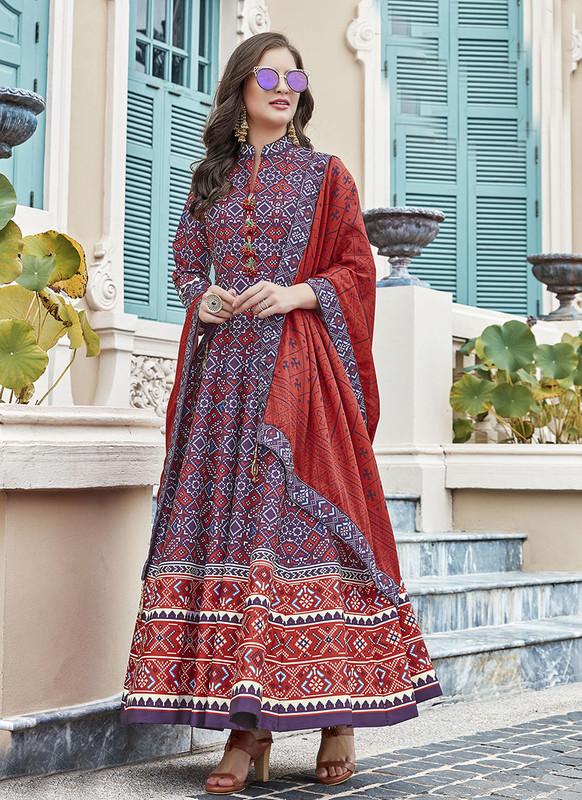 Sareetag Purple  Designer Digital Patola Printed Work With Gown Suit