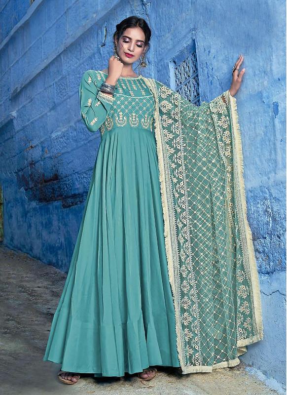 Sareetag Green  Designer Lakhnavi Worked Maslin Gown Suit