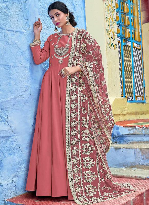Sareetag  Maroon  Designer Lakhnavi Worked Maslin Gown Suit