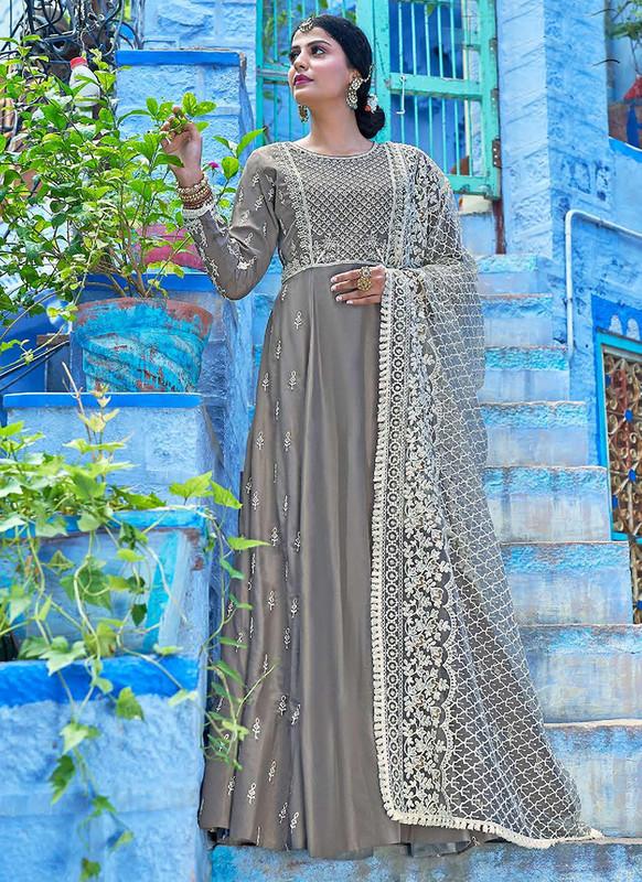 Sareetag Grey  Designer Lakhnavi Worked Maslin Gown Suit