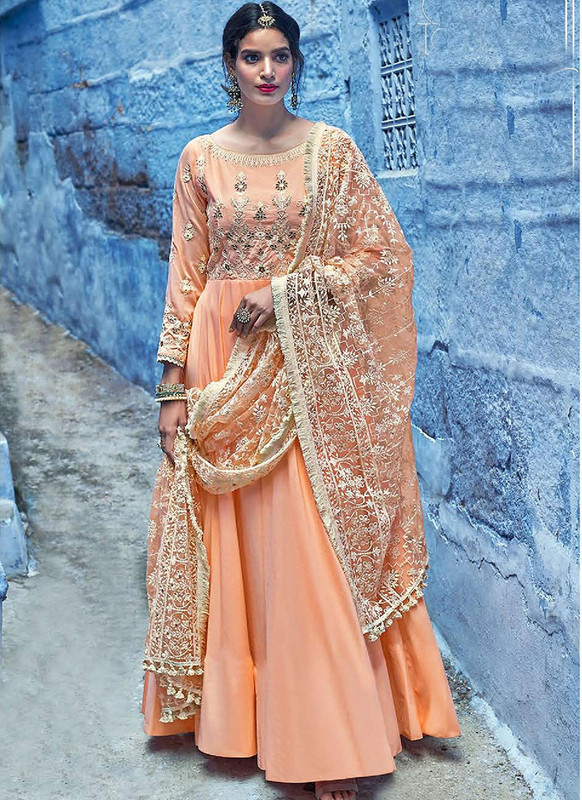 Sareetag Orange  Designer Lakhnavi Worked Maslin Gown Suit