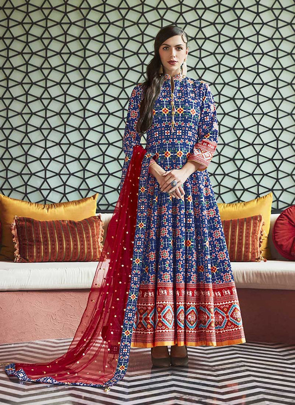 Sareetag Blue  Designer Digital Patola Printed Work With Gown Suit