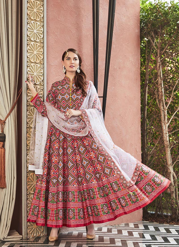 Sareetag Multicolor  Designer Digital Patola Printed Work With Gown Suit