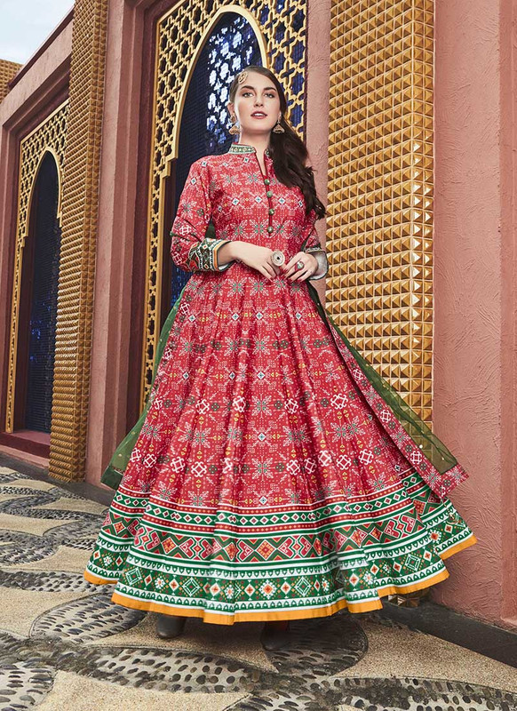 Sareetag Red  Designer Digital Patola Printed Work With Gown Suit