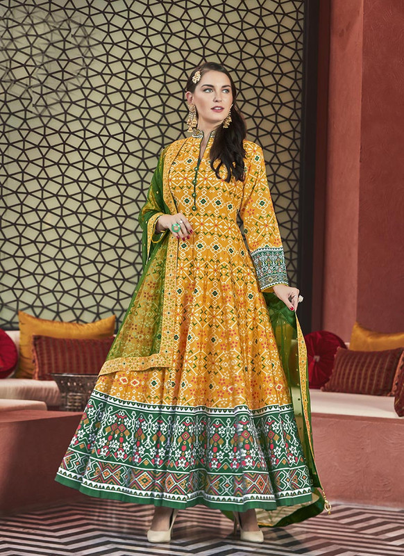 Sareetag Yellow  Designer Digital Patola Printed Work With Gown Suit