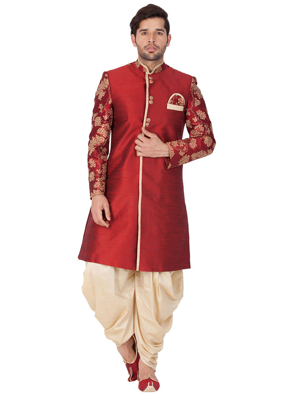 Sareetag Maroon  Readymade Designer Sherwani