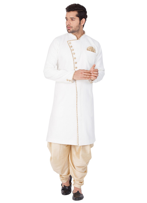 Sareetag White  Readymade Designer Sherwani