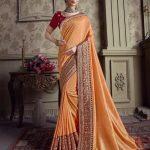 Sareetag Green  Designer Party Wear Satin Silk Saree