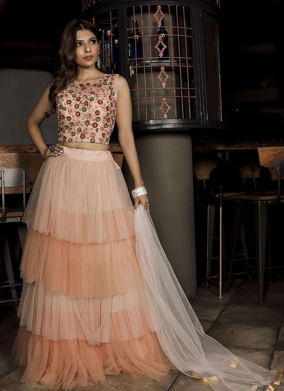 Sareetag Peach  Fancy Designer Party Wear Net Lehenga Choli