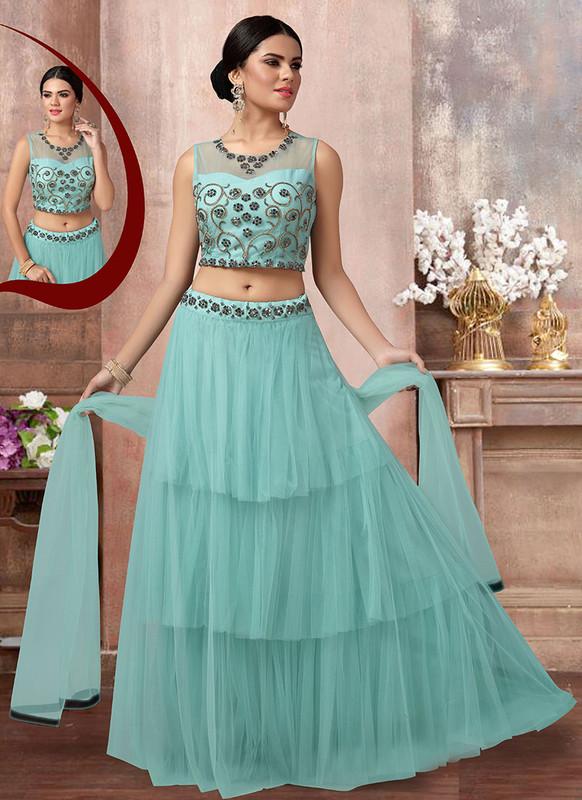Sareetag Aqua  Fancy Designer Party Wear Net Lehenga Choli