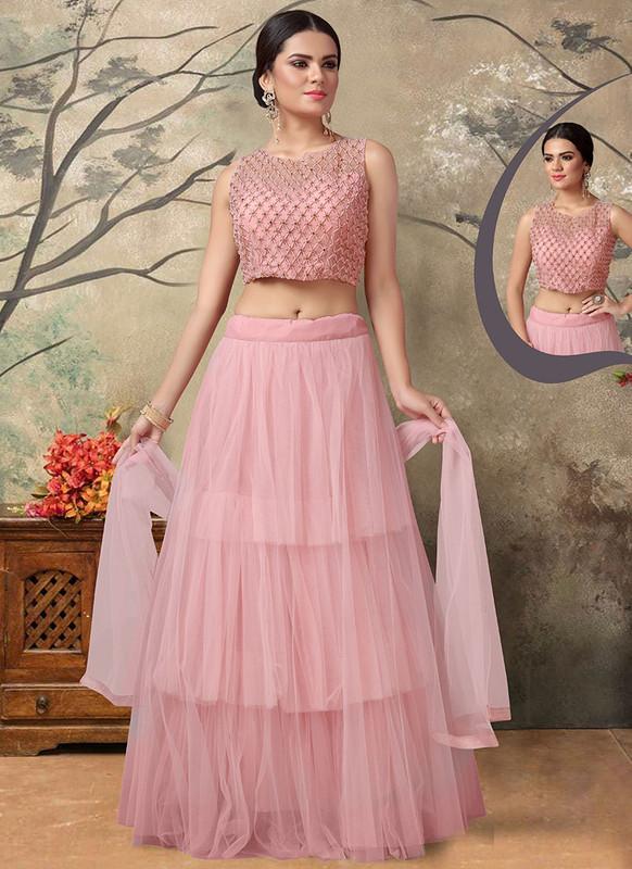 Sareetag Light Pink  Fancy Designer Party Wear Net Lehenga Choli