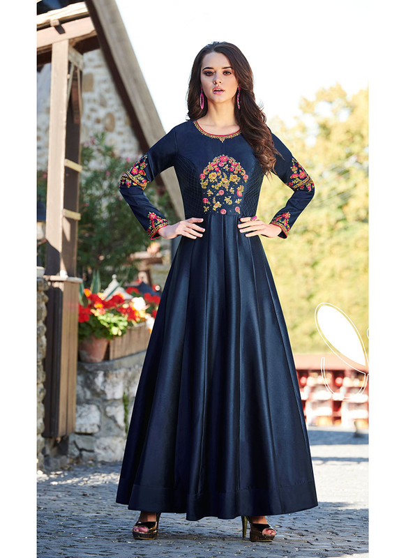 Sareetag Navy Blue  Designer Party Wear Heavy Embroidred Gown