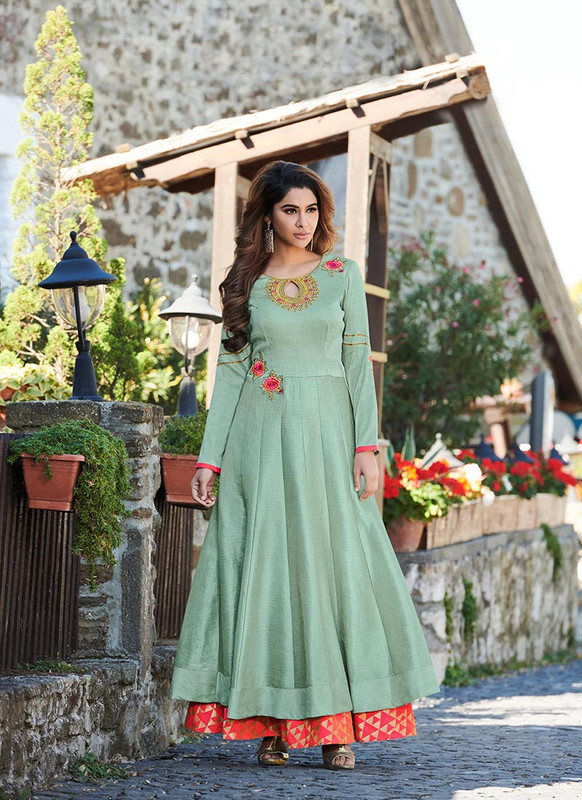 Sareetag Sea Green  Designer Party Wear Heavy Embroidred Gown