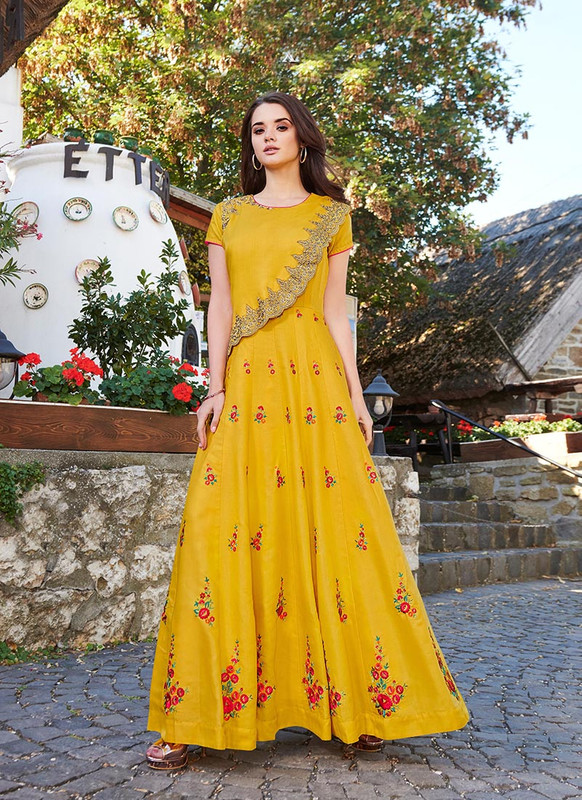 Sareetag Yellow  Designer Party Wear Heavy Embroidred Gown