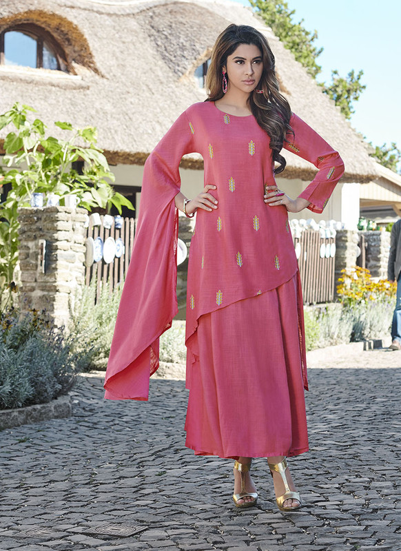 Sareetag Pink  Readymade Party Wear Heavy Reyon 14 Kg Slub kurti