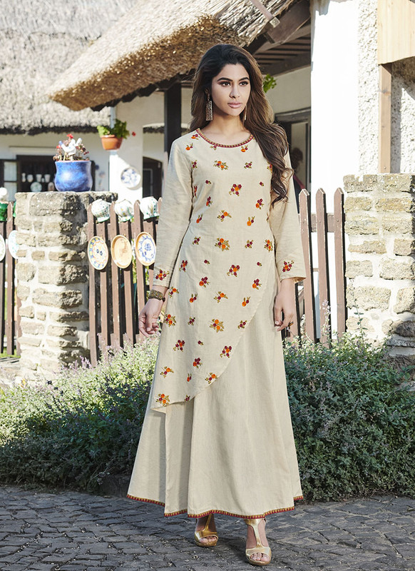 Sareetag Cream  Readymade Party Wear Heavy Reyon 14 Kg Slub kurti