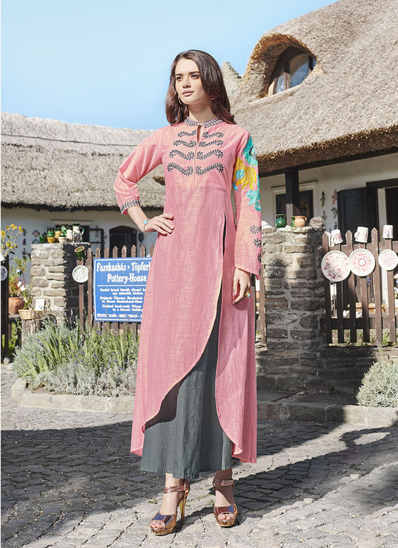 Sareetag Pink,Grey  Readymade Party Wear Heavy Reyon 14 Kg Slub kurti