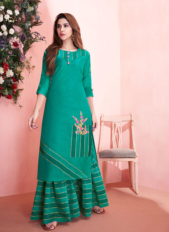 Sareetag Green  Readymade Party Wear Kurti With Bottom