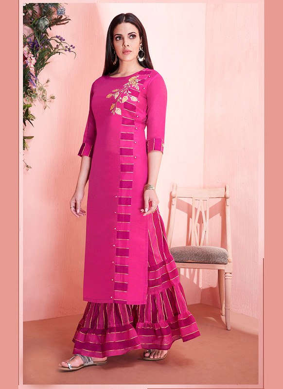 Sareetag Rani Pink  Readymade Party Wear Kurti With Bottom