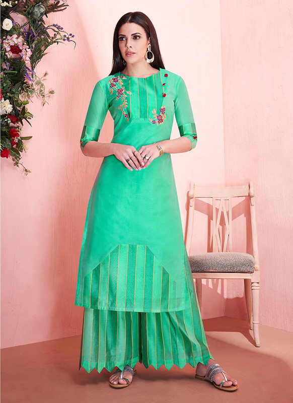 Sareetag Light Green  Readymade Party Wear Kurti With Bottom