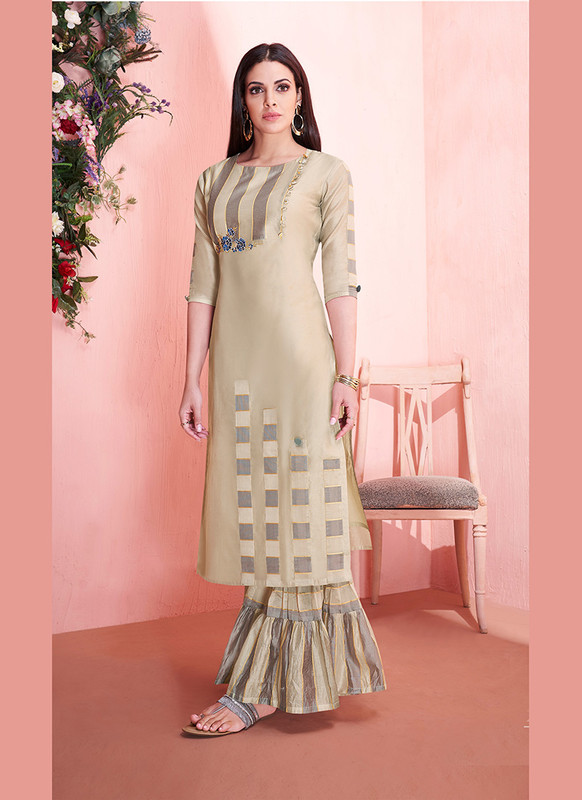 Sareetag Beige  Readymade Party Wear Kurti With Bottom