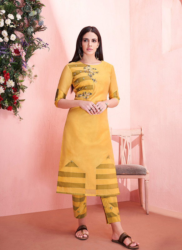 Sareetag Yellow  Readymade Party Wear Kurti With Bottom