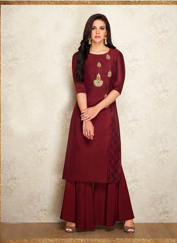 Sareetag Maroon  Readymade Party Wear Designer Kurti With Bottom