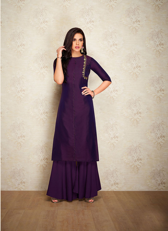 Sareetag Purple  Readymade Party Wear Designer Kurti With Bottom