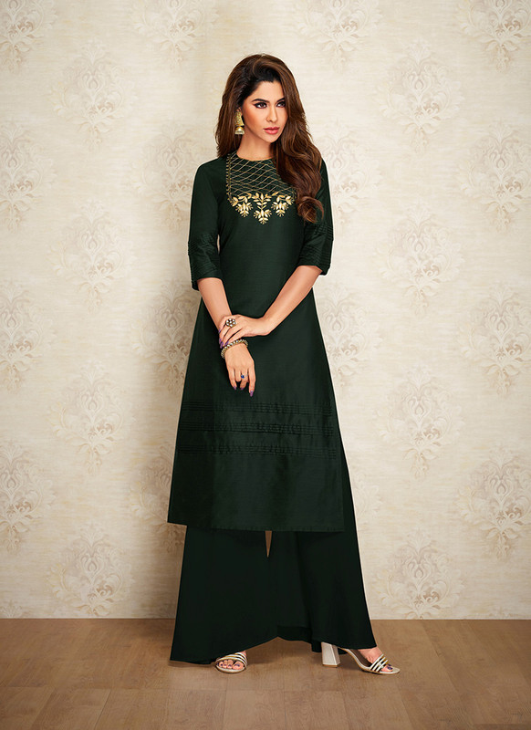 Sareetag Dark Green  Readymade Party Wear Designer Kurti With Bottom