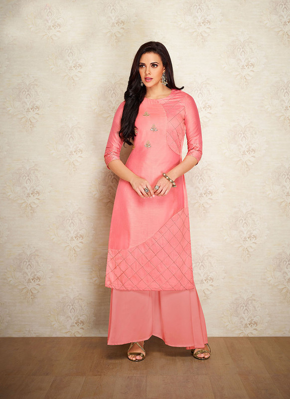 Sareetag Pink  Readymade Party Wear Designer Kurti With Bottom