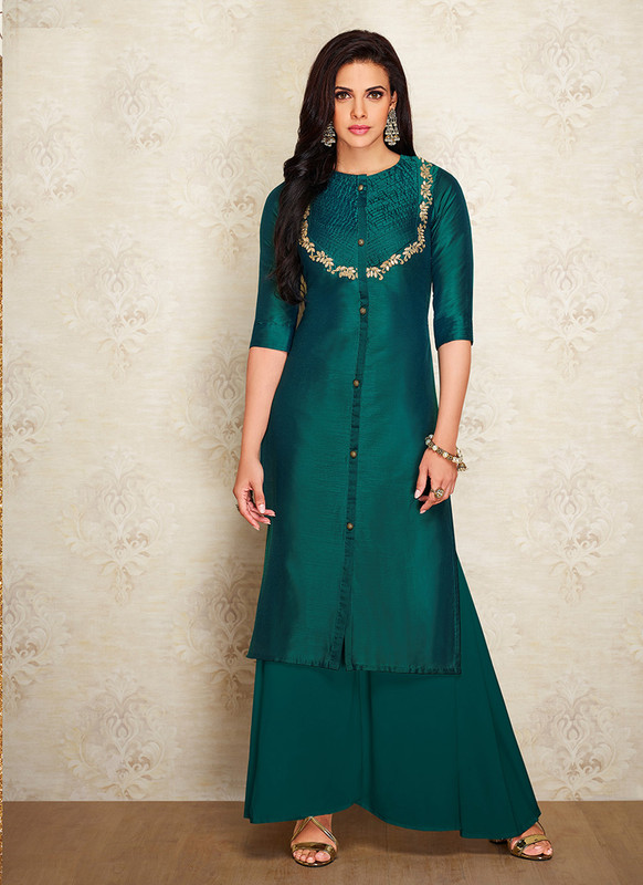 Sareetag Teal Green  Readymade Party Wear Designer Kurti With Bottom