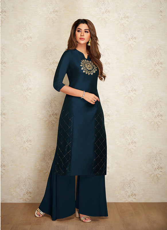 Sareetag Navy Blue  Readymade Party Wear Designer Kurti With Bottom