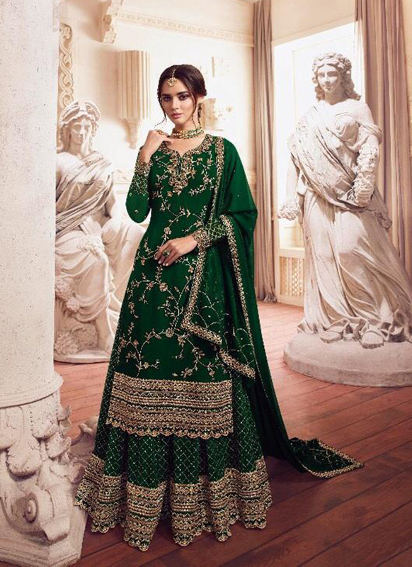 Sareetag Green  Designer Party Wear Georgette Embroidred Suit