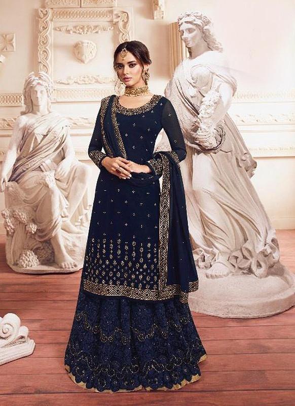 Sareetag Navy Blue  Designer Party Wear Georgette Embroidred Suit